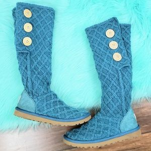 UGG Teal Blue Lattice Cardy Knit High Boots